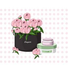 pink cream cosmetic and floral bouquet gift vector image vector image