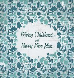 Retro christmas card with seasonal pattern vector image