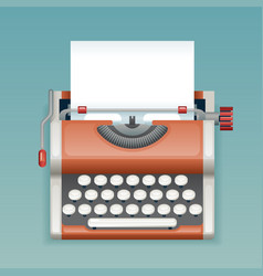retro vintage manual typewriter with blank paper vector image vector image