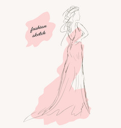 sketch of a girl in a beautiful dress vector image