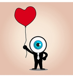 The blue eye hold red heart balloon vector image vector image