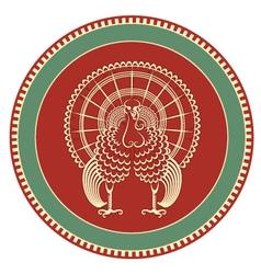 Turkey symbol on label background vector image
