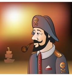 Pirate Captain with Beard and Pipe vector image vector image