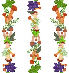 seamless border of mushrooms and herbs vector image