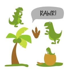 Dinosaur theme set vector image