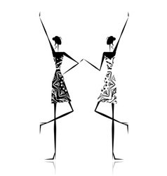 Fashion girls silhouette for your design vector image
