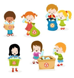 Kids Collecting Plastic Bottles for Recycle vector image vector image