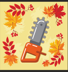 autumn agricultural icons with autumn leaves 9 vector image vector image