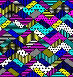 geometric patchwork pattern in bright colors vector image