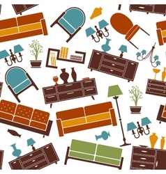 Interior furnitures seamless background pattern vector image vector image