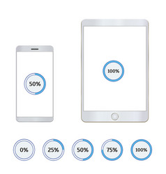 tablet and mobile phone with loading bar vector image vector image