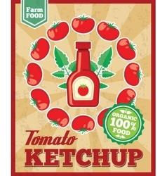 Tomato ketchup retro background vector