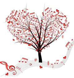 tree music heart vector image
