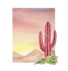 watercolor background with desert and cacti vector image