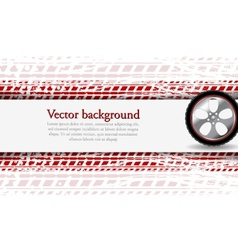 Wheel and grunge tire track Abstract vector image