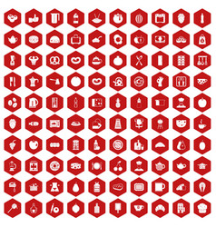 100 breakfast icons hexagon red vector