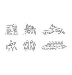 Active lifestyle linear icon set vector
