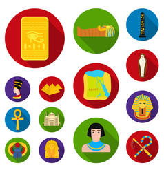 Ancient egypt flat icons in set collection for vector