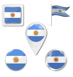 Argentina flag glossy button vector