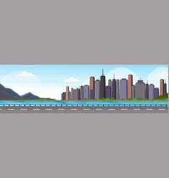 asphalt highway road over beautiful river mountain vector image