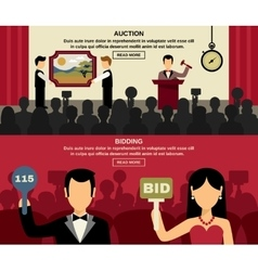 Auction And Bidding Banners Set vector image