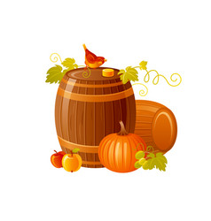 Autumn fall grapes wine barrel icon for harvest vector