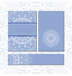 Banner templates with mandala pattern vector