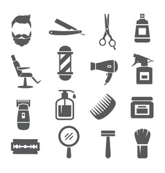 barber shop icons on white background vector image