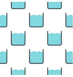 Beaker with pure blue water pattern seamless vector