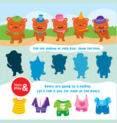 Bear game learn and play task to find objects vector