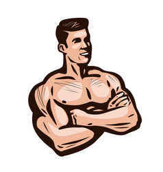 bodybuilder man gym sports vector image