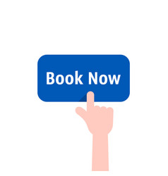 Book now button with hand vector