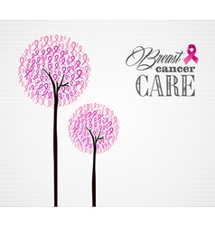 Breast cancer awareness pink ribbons conceptual vector image