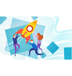 business people with space ship new startup idea vector image