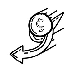 business target hand drawn icon design outline vector image