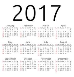 Calendar 2017 sunday vector