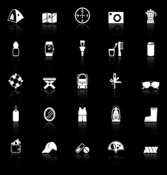 Camping necessary icons with reflect on black vector
