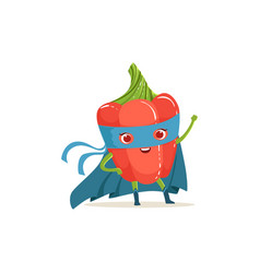 cartoon character of superhero pepper with hand up vector image