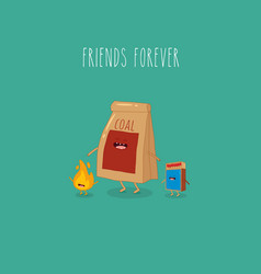 charcoal and matches friends forever vector image