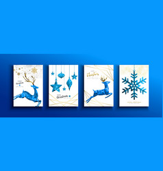 christmas and new year blue low poly deer card set vector image