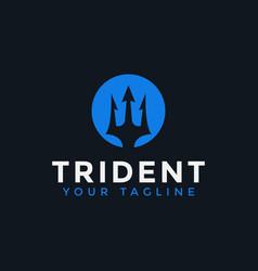 Circle trident neptune poseidon logo design vector