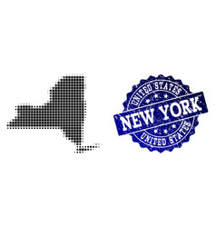 Collage halftone dotted map new york state vector