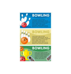 Colorful bowling horizontal banners vector