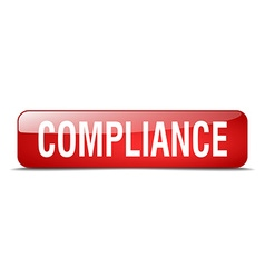 Compliance red square 3d realistic isolated web vector