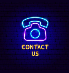 contact us neon label vector image