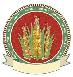 Corn label retro image vector image