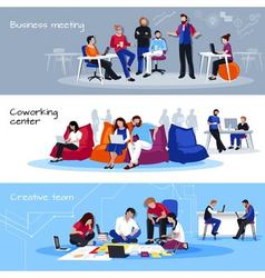 Coworking People Flat Horizontal Banners vector