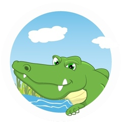 Crocodile on circle vector