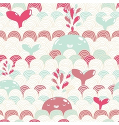 Cute cartoon whale and waves seamless pattern vector