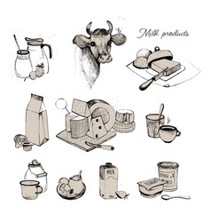 Dairy products hand drawn collection set milky vector